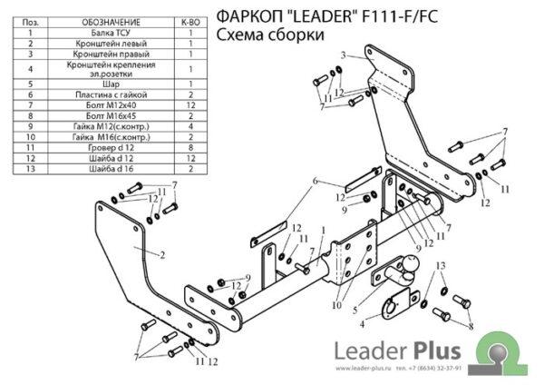 Фаркоп для Ford Tourneo Connect PU2 2002-...