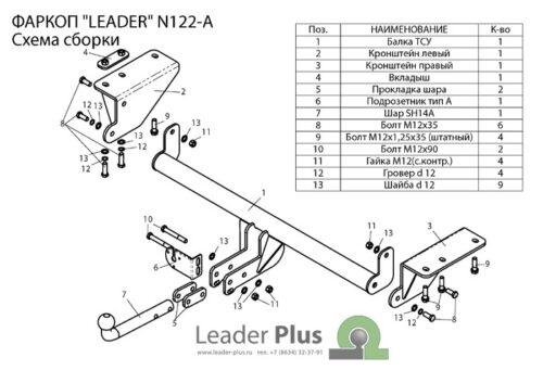Фаркоп для Nissan X-Trail 3 T32 2014-...
