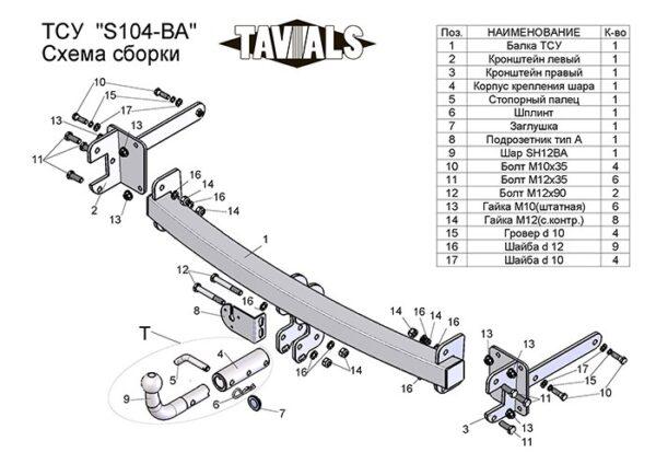 Фаркоп для Skoda Octavia Tour 1U2 лифтбек 1997-2010 c быстросъёмным шаром - Фото