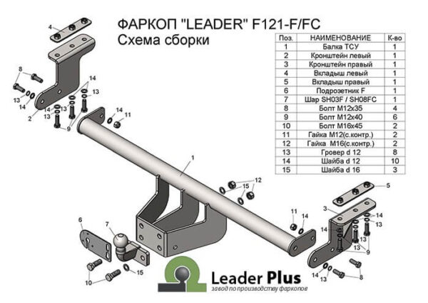 Фаркоп для Ford Ranger 3 Limited, Wildtrak 2011-...