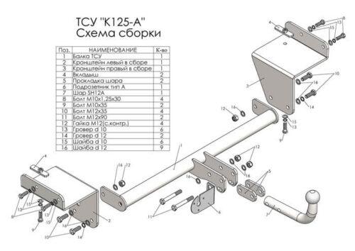схума фаркопа K125-A