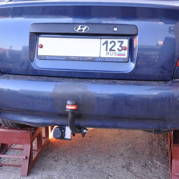 Фаркоп оцинкованный Hyundai Accent 2006-2010, кроме сборки ТагАЗ быстросъемное крепление шара - Фото